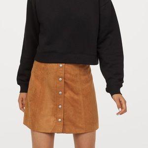 HM Faux Suede A Line Button Mini Skirt NWOT 2